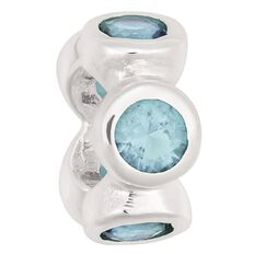 Ane Si Dora Sterling Silver Rubover Light Blue CZ Charm
