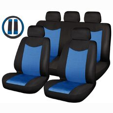 Auto FX Car Seat Cover Polyester Value Set Low Back Black/Blue