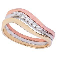 9ct Gold Diamond 3 Stacker Ring Set