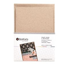 Rosie's Studio Kraft Cards with Envelopes C6 6 Pack