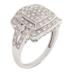 1/4 Carat of Diamonds Sterling Silver Diamond Art Deco Ring