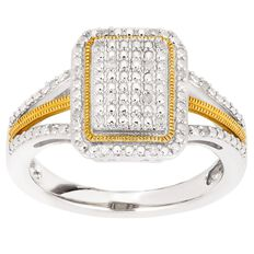 1/10 Carat of Diamonds Sterling Silver Gold Plated Octagon Ring