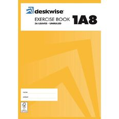 Deskwise Exercise Book 1A8 Blank 36 Leaf Unruled A4 297 x 210mm