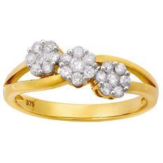 1/2 Carat of Diamonds 9ct Gold  Diamond Flower Cluster Ring