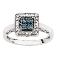 Sterling Silver Blue and White Diamond Square