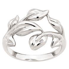 Sterling Silver Diamond Fancy Leaf Ring