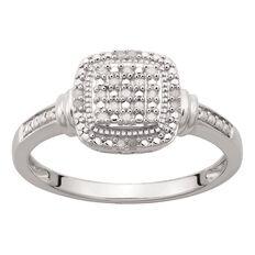 Sterling Silver Diamond Cushion Ring