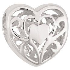 Ane Si Dora Sterling Silver Filigree Heart Charm