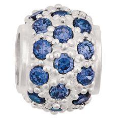 Ane Si Dora Sterling Silver Fancy Dark Blue CZ Ball Charm