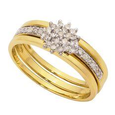 1/4 carat of Diamonds 9ct Gold Diamond Cluster Set Ring