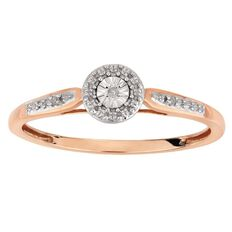 9ct Gold Diamond Fancy Round Side Stone Ring