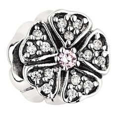 Ane Si Dora Sterling Silver CZ Pink Flower Charm