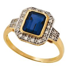 9ct Gold Diamond Synthetic Ceylon Sapphire Ring