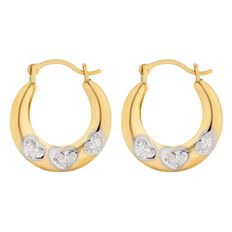 9ct Gold Diamond Small Hoop Earrings