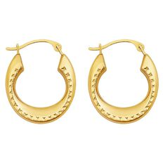 9ct Gold Fancy Hoop Earrings