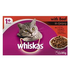 Whiskas Beef in Gravy Pouch 12 Pack