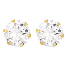 9ct Gold 6 Claw CZ Stud Earrings 6mm