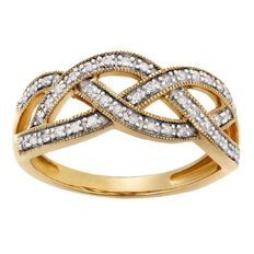 1/4 Carat of Diamonds 9ct Gold Fancy Weave Ring