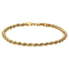 9ct Gold Rope Bracelet 19cm