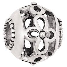 Ane Si Dora Sterling Silver Diamond Cut Flower Charm