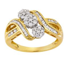 1/2 Carat of Diamonds 9ct Gold Diamond Flower Baguette Trio Set Ring