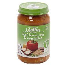 Wattie's Beef Brown Rice and Vegetables Jar 170g