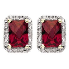 9ct Gold Diamond Synthetic Ruby Square Halo Earrings