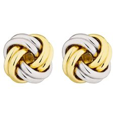 9ct Gold Two Toned Love Knot Earrings 4mm