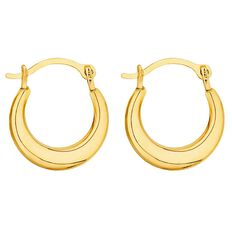 9ct Gold Mini Flat Hoop Earrings 10mm