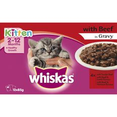 Whiskas Kitten with Beef Pouch 12 Pack