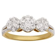 1 Carat of Diamonds 9ct Gold Diamond 3 Stone Cluster Ring