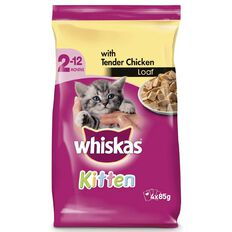 Whiskas Kitten Tender Chicken Loaf Pouch 85g 4 Pack