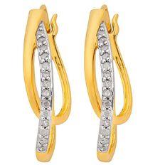 1/4 Carat of Diamonds 9ct Gold Double Creole Earrings