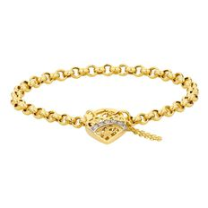 9ct Gold Filigree Heart CZ Hollow Bracelet