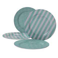 Living & Co Outdoor Dinner Plate Melamine Pastel 4 Piece