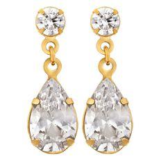 9ct Gold CZ Pear Drop Stud Earrings