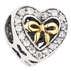 Ane Si Dora Sterling Silver Heart with Gold Ribbon Charm
