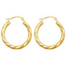 9ct Gold Medium Twist Hoop Earrings