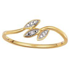 9ct Gold Diamond Trio Leaf Ring