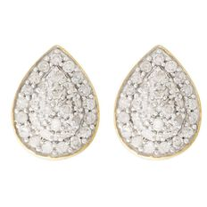1/4 Carat of Diamonds 9ct Gold Diamond Pear Shape Earrings