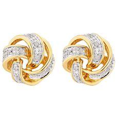 9ct Gold Diamond Knot Earrings