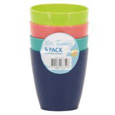 4 Kidz Set 4 Plastic Round Tumblers with Ribbed Design