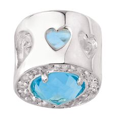 Ane Si Dora Sterling Silver CZ Blue Cricle Charm
